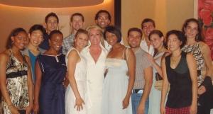 Designer Pamella DeVos with dancers